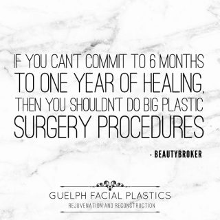 """We always love sharing the wise words of @beautybrokerofficial & this one ☝️ is especially important, please read:   """"We cannot force the body to heal. We also cannot predict how long that healing process will take. That being said, we don't call you """"patients"""" for nothing.... it requires PATIENCE to be a patient. Oxidative stress, adaptation to implants, disruption of lymphatics and healing of incisions take TIME. Your job is to practice good health, diet, rest and total wellness during this period. Follow your post op instructions. LISTEN to your surgeon and recovery nurses. Take it easy, light exercise and not too much traveling or partying, stay out of the sun, follow scar protocols. Be kind to your body and your body will be kind to you. 6 months to one year is normal for FULL healing.""""  Questions/Comments? Let us know!  _____________________________ 📞 519-824-0550 🌐 facialplastics.ca 📍 690 Woolwich St. Suite 2 Guelph, ON 👤 Facebook: Guelph Facial Plastics . . . #plasticsurgeryconsultant #patientsafety #patientadvocate #patienteducation #blepharoplasty #eyelidsurgery #eyelidlift #facialplasticsurgeons #facialplasticsurgeon #facialplasticsurgery #guelphfacialplastics #guelph #kitchener #mississauga #milton #beforeandafter #browlift #facialplastics #skinpinch  #guelphdoctor #facialsurgeon #facialsurgery #guelph #guelphlove #guelphlife #local #localsurgeon #localdoctor #skinexpert #skinexperts"""